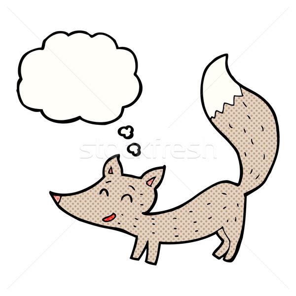 Desenho animado pequeno lobo balão de pensamento mão projeto Foto stock © lineartestpilot