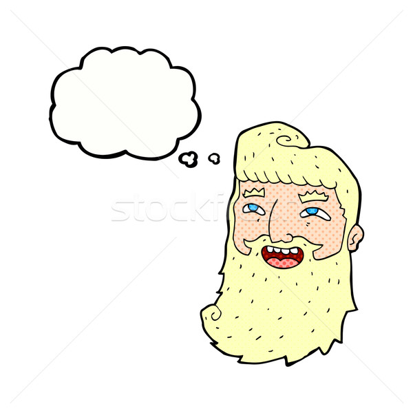 Cartoon lachend bebaarde man gedachte bel hand Stockfoto © lineartestpilot