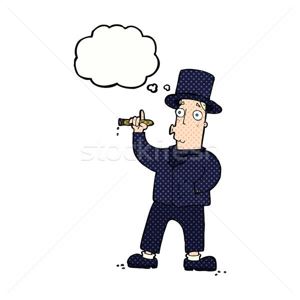Rajz dohányzás úriember gondolatbuborék kéz férfi Stock fotó © lineartestpilot