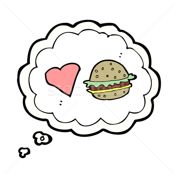 cartoon hamburger with thought bubble Stock photo © lineartestpilot