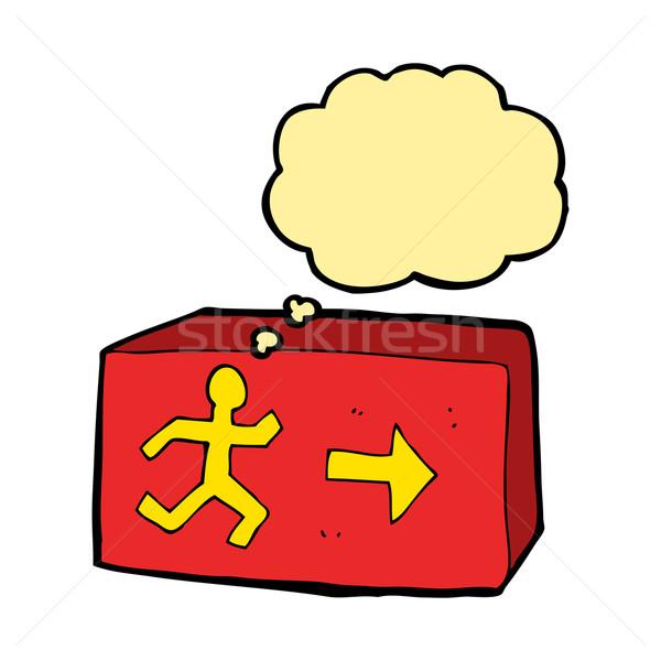 Karikatur exit sign Gedankenblase Hand Design Kunst Stock foto © lineartestpilot