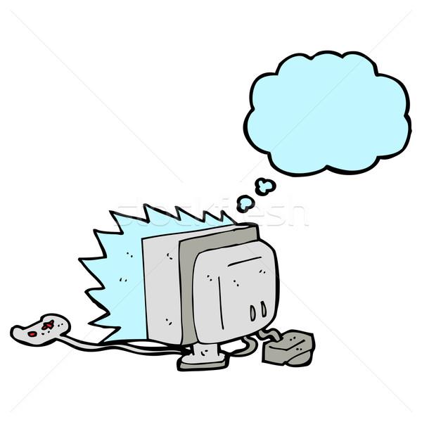 Cartoon gra komputerowa bubble myśl komputera strony projektu Zdjęcia stock © lineartestpilot