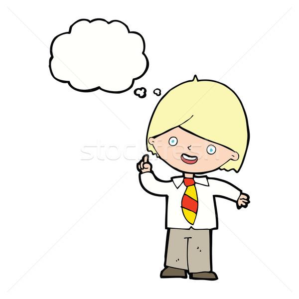 Rajz iskolás fiú kérdés gondolatbuborék kéz iskola Stock fotó © lineartestpilot