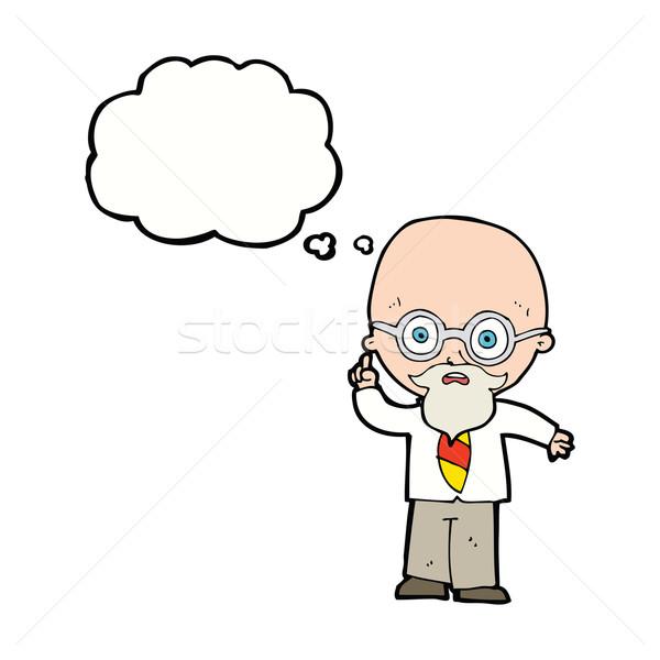 Karikatür profesör düşünce balonu el dizayn sanat Stok fotoğraf © lineartestpilot