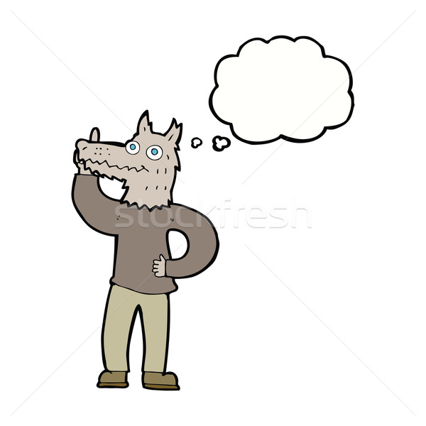 cartoon werewolf with idea with thought bubble Stock photo © lineartestpilot