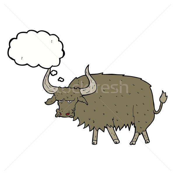 Rajz bosszús szőrös tehén gondolatbuborék kéz Stock fotó © lineartestpilot