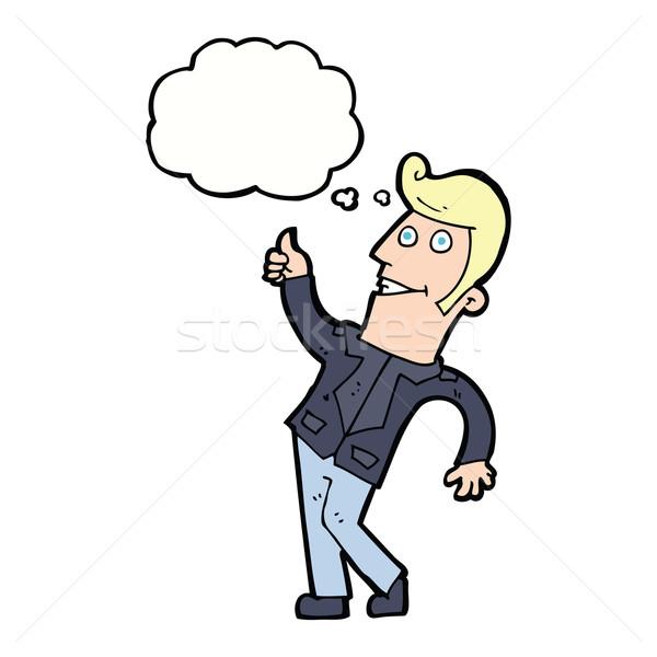 Cartoon uomo segno bolla di pensiero mano Foto d'archivio © lineartestpilot