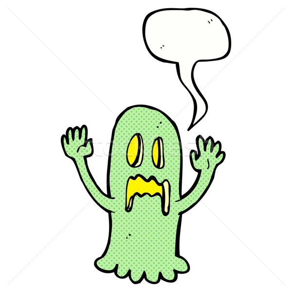 cartoon spooky ghost with speech bubble Stock photo © lineartestpilot
