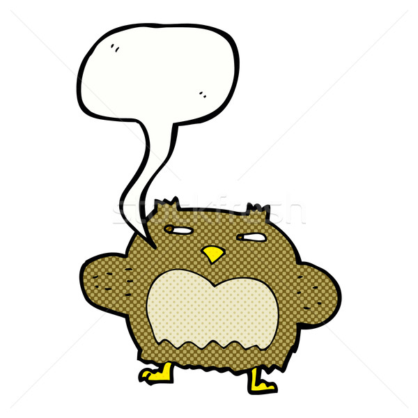 cartoon suspicious owl with speech bubble Stock photo © lineartestpilot