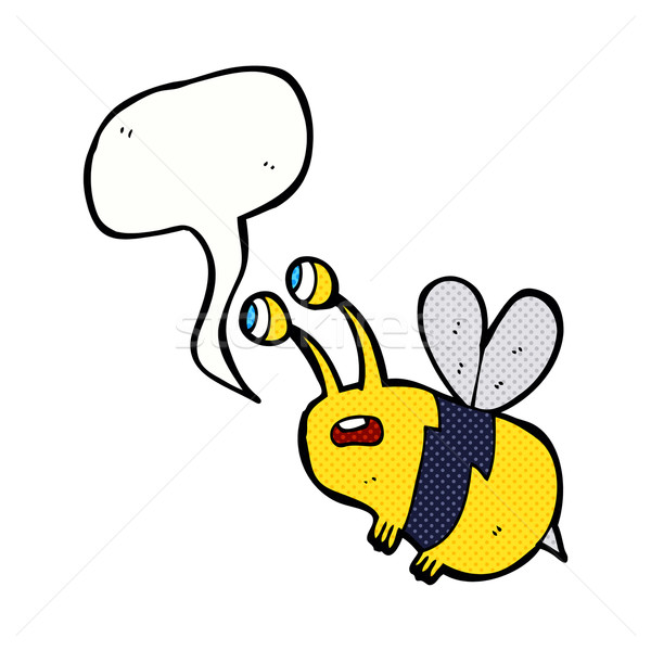cartoon frightened bee with speech bubble Stock photo © lineartestpilot