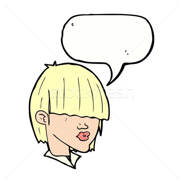 cartoon fashion haircut  with speech bubble Stock photo © lineartestpilot