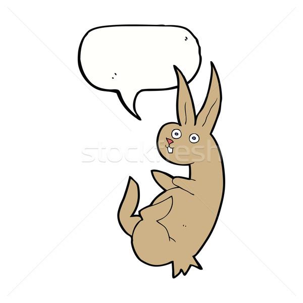 cue cartoon rabbit with speech bubble Stock photo © lineartestpilot