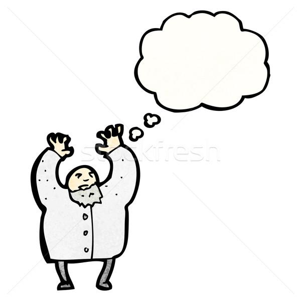 Pazza scienziato cartoon parlando retro pensare Foto d'archivio © lineartestpilot