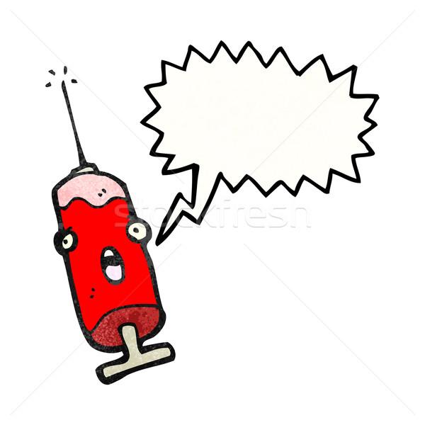 Cartoon aiguille sang parler rétro dessin Photo stock © lineartestpilot