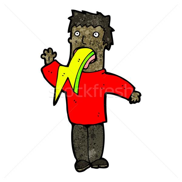 Karikatür adam yıldırım Retro elektrik çizim Stok fotoğraf © lineartestpilot