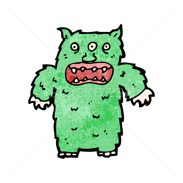 Cartoon poilue monstre art rétro dessin Photo stock © lineartestpilot