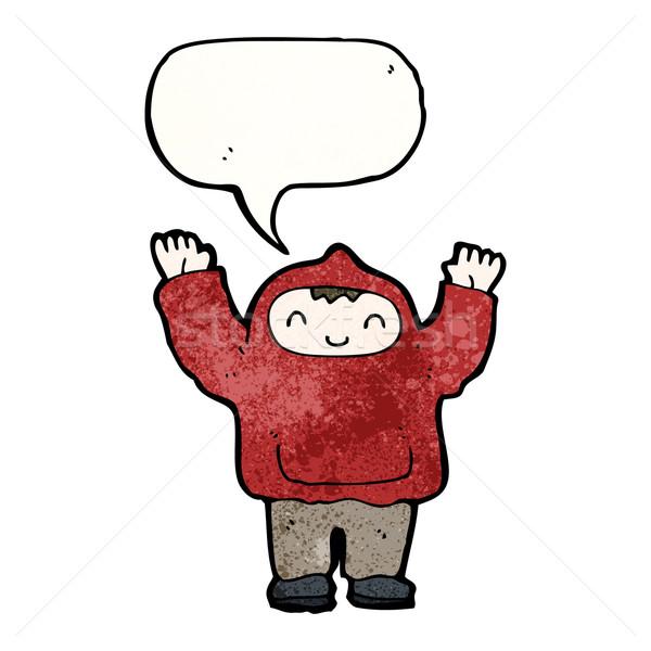 Karikatur Junge Sweatshirt Retro Textur Stock foto © lineartestpilot