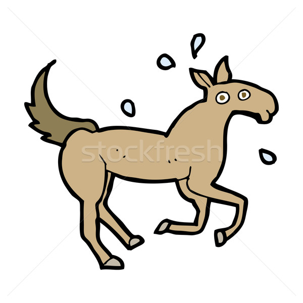 cartoon horse sweating Stock photo © lineartestpilot