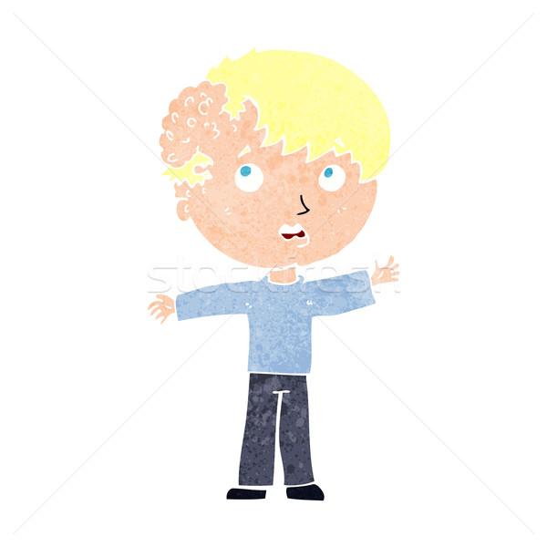 Cartoon garçon croissance tête main homme Photo stock © lineartestpilot