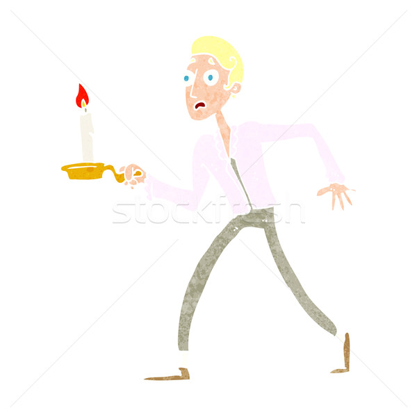 cartoon frightened man walking with candlestick Stock photo © lineartestpilot