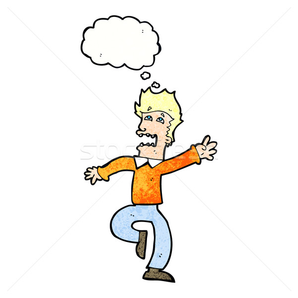 cartoon man panicking with thought bubble Stock photo © lineartestpilot