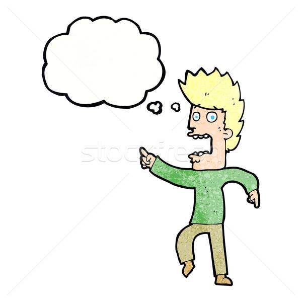 Сток-фото: Cartoon · испуганный · человека · мысли · пузырь · стороны · дизайна