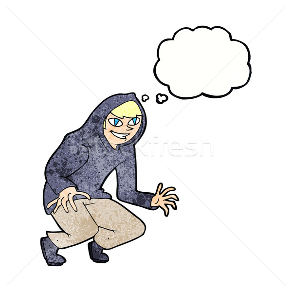 cartoon mischievous boy in hooded top with thought bubble Stock photo © lineartestpilot
