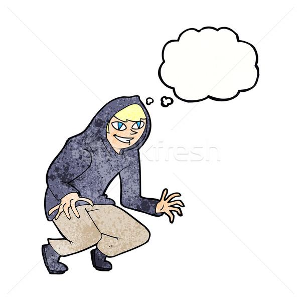 Rajz csintalan fiú kapucnis felső gondolatbuborék Stock fotó © lineartestpilot