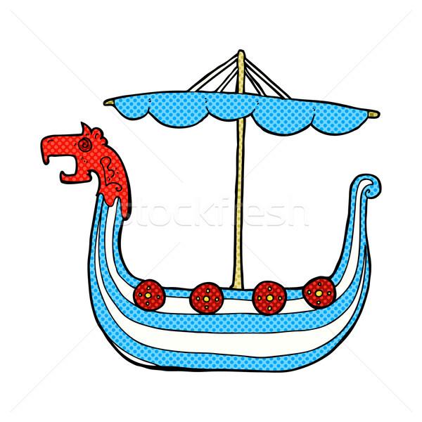 Képregény rajz viking hajó retro képregény Stock fotó © lineartestpilot