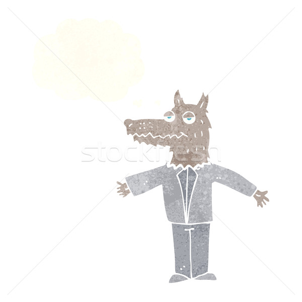 cartoon wolf with thought bubble Stock photo © lineartestpilot
