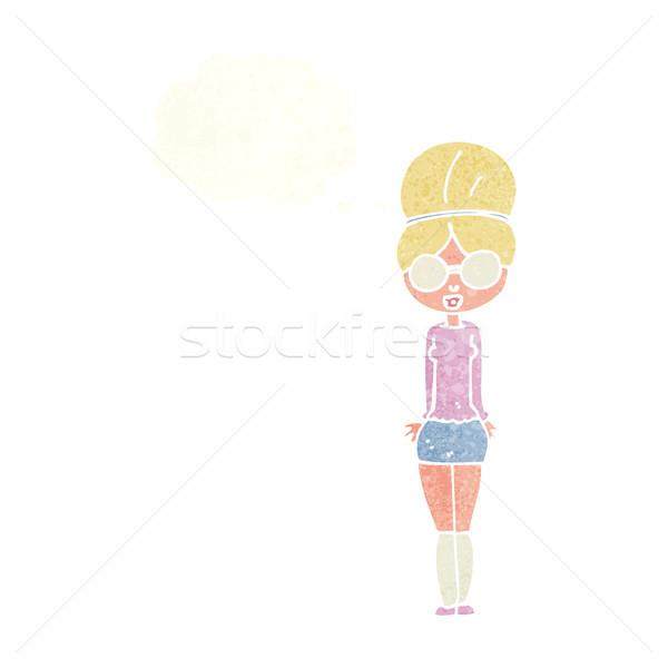 Desenho animado bibliotecário mulher balão de pensamento mão projeto Foto stock © lineartestpilot