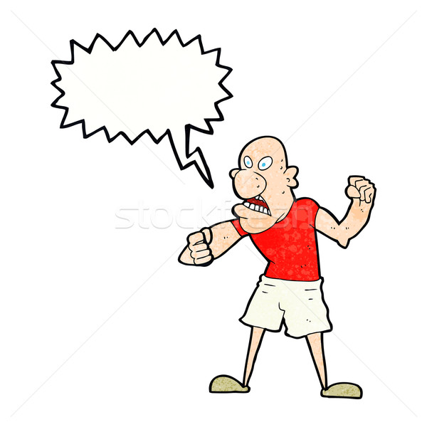 cartoon violent man with speech bubble Stock photo © lineartestpilot