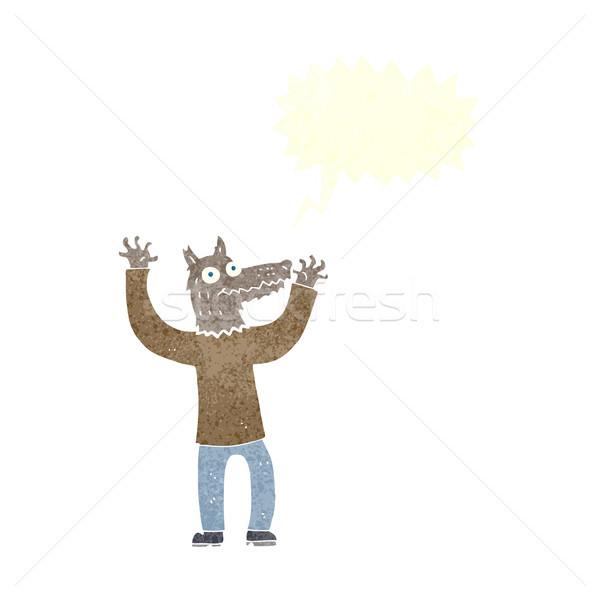 Cartoon lobo hombre bocadillo mano diseno Foto stock © lineartestpilot