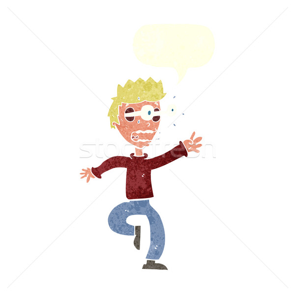 cartoon terrified man with eyes popping out with speech bubble Stock photo © lineartestpilot