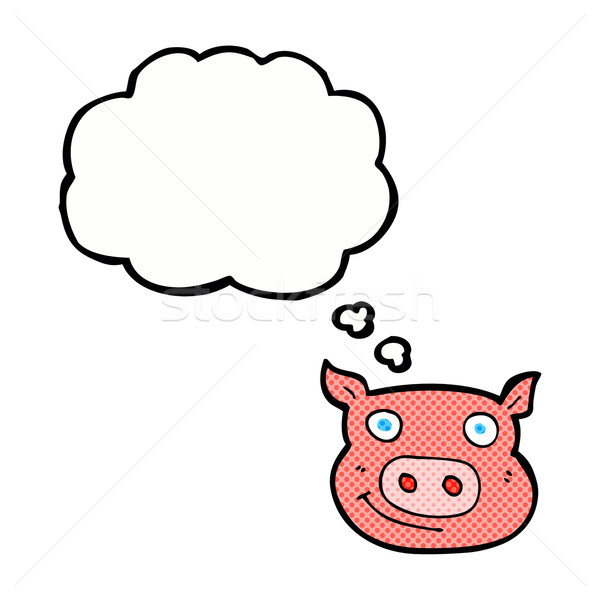 cartoon pig face with thought bubble Stock photo © lineartestpilot