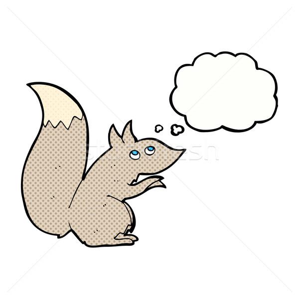 Cartoon écureuil bulle de pensée main design fou Photo stock © lineartestpilot