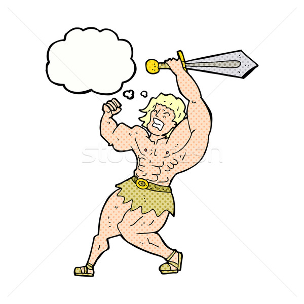 Stock photo: cartoon barbarian hero with thought bubble