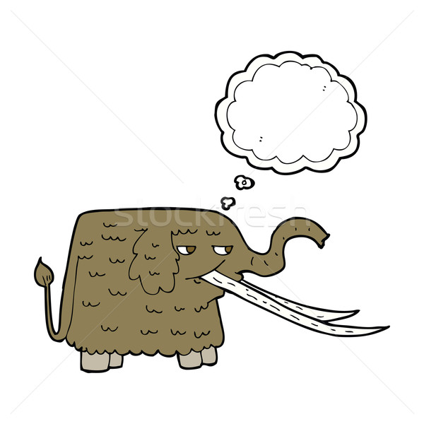 cartoon woolly mammoth with thought bubble Stock photo © lineartestpilot