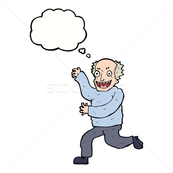 Rajz gonosz idős férfi gondolatbuborék kéz férfi Stock fotó © lineartestpilot