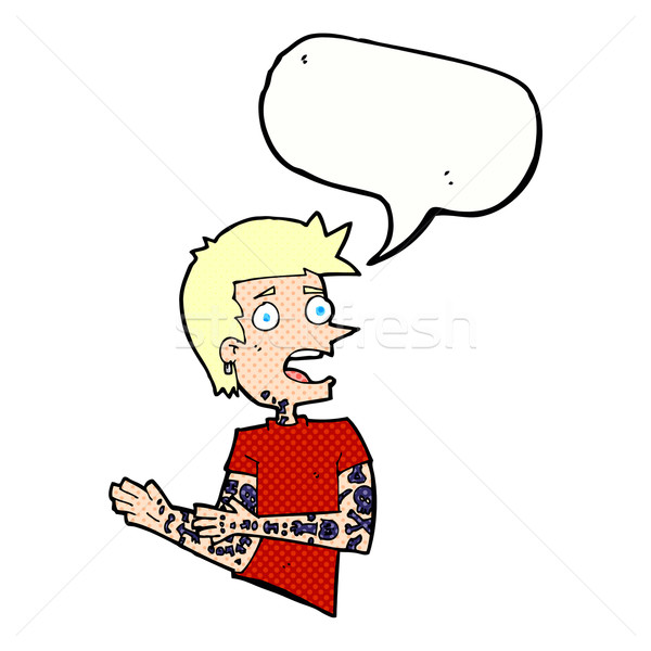 cartoon man with tattoos with speech bubble Stock photo © lineartestpilot