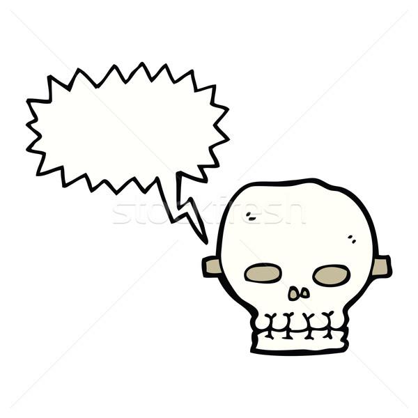 cartoon spooky skull mask with speech bubble Stock photo © lineartestpilot
