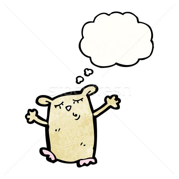 Cartoon hamster gedachte bel praten retro denken Stockfoto © lineartestpilot