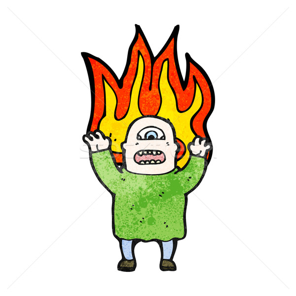 flaming monster man cartoon Stock photo © lineartestpilot