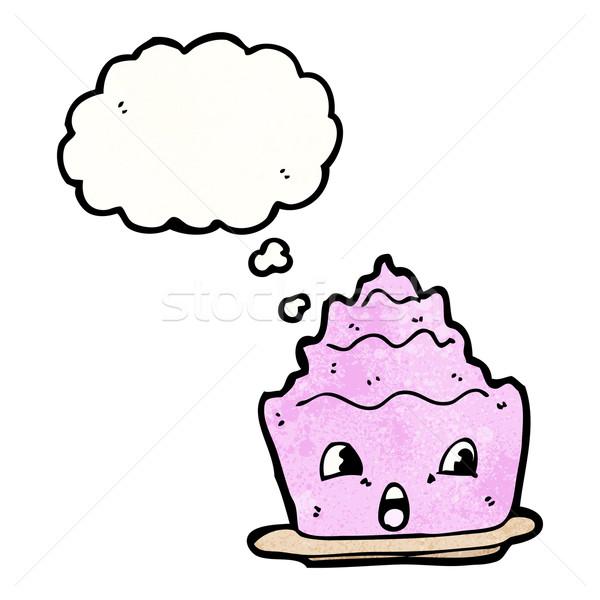 Cartoon gelatina dessert faccia torta parlando Foto d'archivio © lineartestpilot