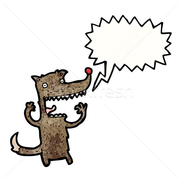 Karikatür çılgın kurt Retro çizim sevimli Stok fotoğraf © lineartestpilot