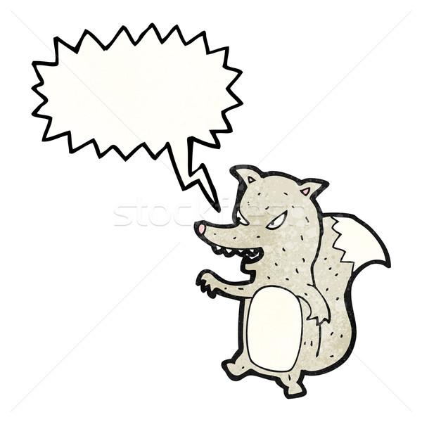 Karikatür zeki kurt köpek sanat Retro Stok fotoğraf © lineartestpilot