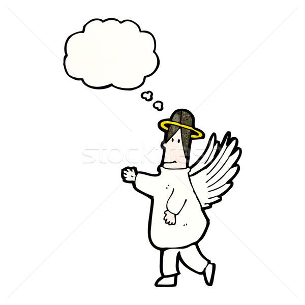 Rajz angyal gondolatbuborék retro menny rajz Stock fotó © lineartestpilot