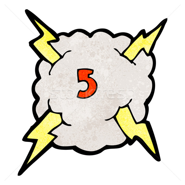 cartoon thunder cloud with number five Stock photo © lineartestpilot