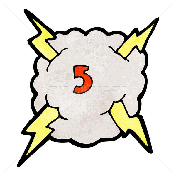 Cartoon Thunder облаке числа пять Storm Сток-фото © lineartestpilot