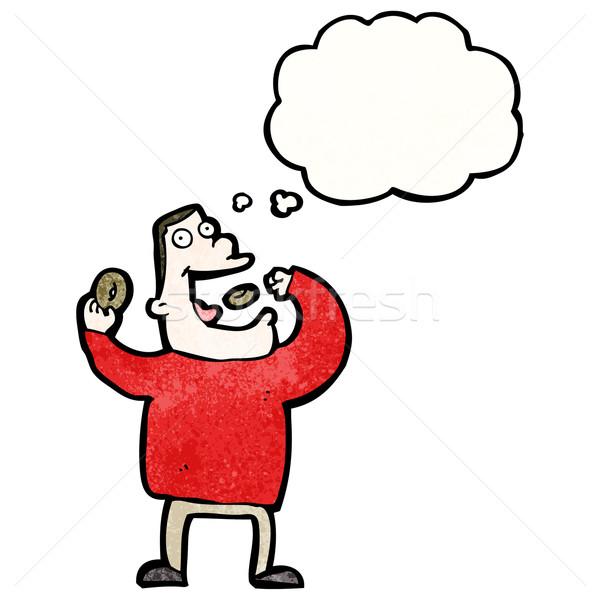 Cartoon hebzuchtig man eten retro ballon Stockfoto © lineartestpilot